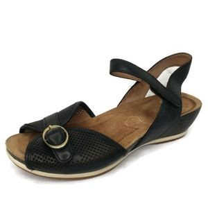 DANSKO Ankle Strap Perforated Low Wedge Sandals